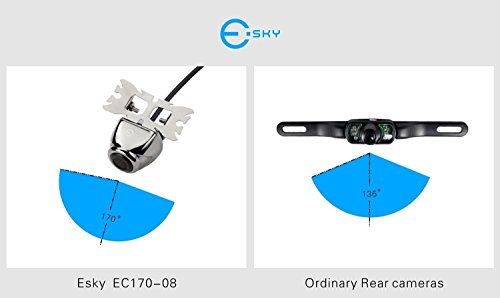 Esky Waterproof Car Rear View Backup Camera Butterfly-Sized, Stainless Polished Surface EC170-08