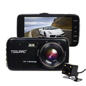 Toguard Full HD 1080P 4.0 inch IPS Screen Car Dash Cam F2.0 Big Eye Dual Lens Car DVR with Rear Camera, 130 Degree Wide Angle, Night Vision, LDWS, FCWS, WDR, Loop Recording, G-sensor Function
