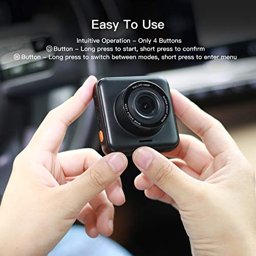 APEMAN Dual Lens Dash Cam for Cars Front and Rear with Night Vision and SD Card Included, 1080P FHD Mini Car Camera, 170°Wide Angle Driving Recorder with G-Sensor, Parking Monitor, Loop Recording, WDR