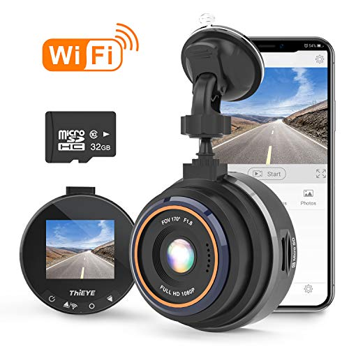 THIEYE Dash Cam Wifi Full HD 1080P, Mini Car DVR Dashboard Camera with 32GB SD Card, Super Night Vision, 1.5″ LCD Display, 170 Super Wide Angle, G Sensor, Parking Monitor, Motion Detection, WDR