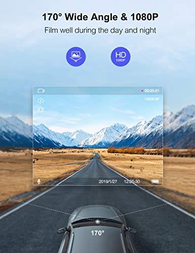 Crosstour Dash Cam 1080P FHD Mini Dashboard Camera