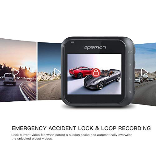 APEMAN Dash Cam, 1080P Full HD Car Camera DVR Dashboard Camera Video Recorder In Car Camera Dashcam for Cars 170 Wide Angle WDR with Mini Design, Night Vision Motion Detection and G-sensor